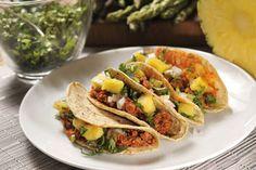 Tacos al pastor vegetarianos (Pueden ser elaborados con soya texturizada) #Alimentos Colpac