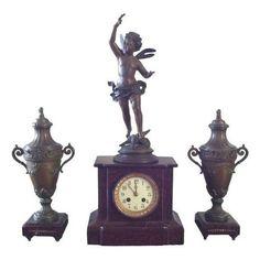 Antique French Garniture Clock Set ($1,200) ❤ liked on Polyvore featuring home, home decor, clocks, decorative objects, bronze urn, chime clocks, pendulum clock, bronze figurines and cherub figurines