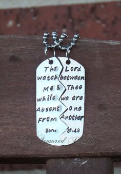 Bible Verse Split Dog Tag - Genesis 31:49 - Love this verse