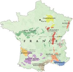 Outline of the main wine regions of France. The complete map contains all of the official AOC regions