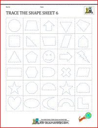 Tracing Shape Worksheets - Trace the Shapes Sheet 6