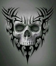 Evil Skull Tattoo, Skull Tattoo Design, Tattoo Design Drawings, Skull Tattoos, Body Art Tattoos, Tatoos, Badass Skulls, Skull Stencil, Totenkopf Tattoos