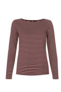People Tree Nita stripe tee burgundy|People Tree Nita gestreepte top b | Supergoods Ecodesign & Fair Fashion