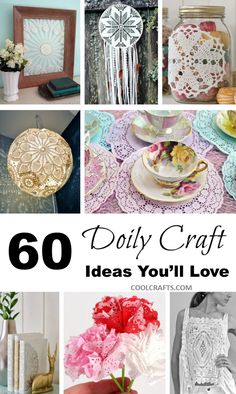 Need some inspiration when it comes to working with doilies? These 60 DIY fabric & paper doily craft ideas will keep you busy crafting for awhile. Paper Doily Crafts, Doily Art, Doilies Crafts, Paper Doilies, Fabric Paper, Paper Lace, Diy Paper, Fabric Crafts, Crafts For Teens