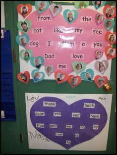 "Pink and purple ""heart word"" wall charts help children know exactly what their next sight word target is. Special needs children receive extra learning support in Winter Curry's kindergarten. From ""Writing-to-Read Accelerates Literacy,"" Chapter 4."