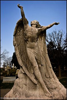 "Below the angel is an inscription... ""There is no death.""   Angel sculpted in 1915 by Brenda Putnam."