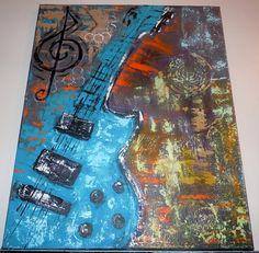 Abstract guitar original painting music wall art large guitar wall decor 16 x 20 canvas