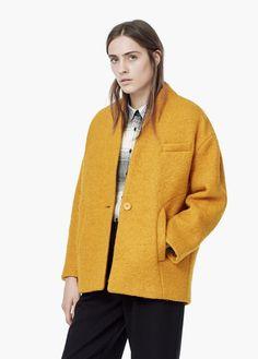 Vlněný kabát bouclé | MANGO