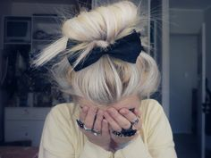 messy bun.with bow.