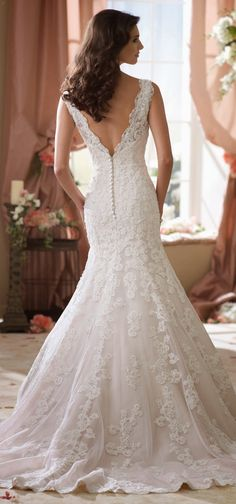 A gorgeous lace moment ~ David Tutera for Mon Cheri Spring 2014 Bridal Collection | bellethemagazine.com
