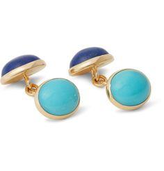 18-Karat Gold, Lapis and Turquoise Cabochon Cufflinks | MR PORTER