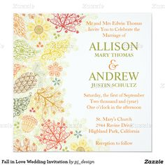 "Fall in Love Wedding Invitation 5.25"" Square Invitation Card"