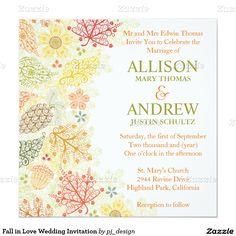"""Fall in Love Wedding Invitation 5.25"""" Square Invitation Card"""