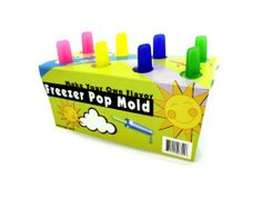 """Freezer Pop Mold - Case of 36 by Bulk Buys. $52.92. Freezer pop molds make a delicious spring and summer treat! Kids can create their own yummy flavors. Also great for parties and picnics. There are 8 molds with 8 lids in translucent yellow, turquoise, magenta and green. Molds come packaged in a wrap card. Each mold can make a 3"""" treat. Handles are 1""""."""