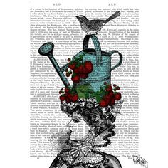 Picture showing FabFunky - Victorian Lady with Watering Can Hat, Antiquarian Book Print, 20.3 x 25.4cm