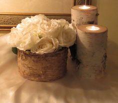 2 Decoración de abedul corteza Vela titulares rústico boda pieza central Cottage Chic Navidad decoración casas y florero de corteza de abedu...