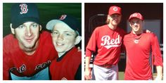Reds prospect Tanner Rahier got the chance to recreate this photo with Bronson Arroyo nine years later, during their first Spring Training together. #redsspringtraining