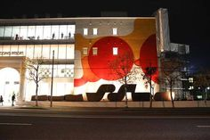 Guillaume Bottazzi's permanent painting, night view. Miyanomori International Museum of Art (MIMAS), Sapporo, Japan