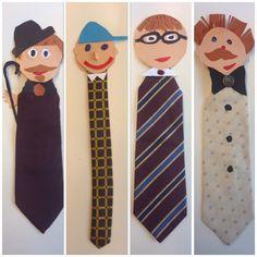 Voor vaderdag; een boekenlegger gemaakt van een stropdas:) Stropdas afgeknipt, dan hoofd en boordje van papier gemaakt, eventueel knoopjes er op plakken.