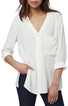 Topshop Slouchy Pocket Long Sleeve Blouse