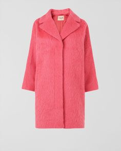 Raspberry sorbet where ever you go...Jaeger Londons Pink Mohair Cocoon Coat $642