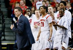 LEXINGTON, KY - MARCH 23: Head coach Rick Pitino of the Louisville Cardinals reacts with his team after a play in the second half against the Colorado State Rams during the third round of the 2013 NCAA Mens Basketball Tournament at Rupp Arena on March 23, 2013 in Lexington, Kentucky