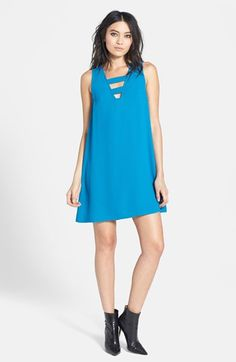 $23, Blue Shift Dress: Cutout Shift Dress by Tildon. Sold by Nordstrom. Click for more info: http://lookastic.com/women/shop_items/71461/redirect
