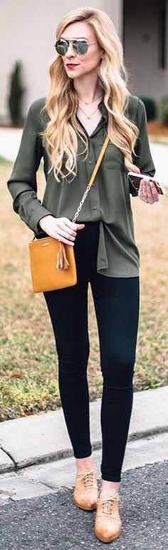 Olive button-up blouse, black skinny jeans, Johnston Murphy shoes, Gigi New York crossbody || A Pinch Of Lovely #olive