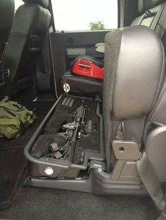 Gun Safe Under the Seat. I Don't need an AR but Preferably for the Rifle and my Hand Gun. Hidden Gun Storage, Weapon Storage, Tactical Truck, Tactical Gear, Tactical Wall, Airsoft, Truck Storage, Seat Storage, Tac Gear