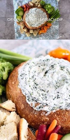 Bread Bowl Spinach Dip is super easy and a wonderful appetizer and fun for the kids of all ages! Dip is super easy and a wonderful appetizer and fun for the kids of all ages! Knorr Spinach Dip, Best Spinach Dip, Vegan Spinach Dip, Spinach Bread Bowl Dip, Cold Spinach Dip, Spinach Dip Recipe Easy, Vegan Appetizers, Easy Appetizer Recipes, Dinner Recipes