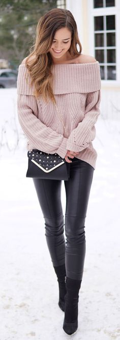 Valentine's Day inspo: this pink off shoulder sweater is under $50 and so flattering with the world's best faux-leather leggings under $100!! Pearl crossbody bag on sale for 50% off. Perfect romantic and warm winter look #fashion #blog #blogger #fashionbl