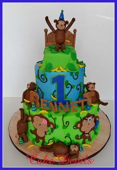 Monkey Fondant Cake topper, Monkeys Jumping on the Bed Birthday party, Monkey cake, Five Little Monkeys, Birthday Cake, Handmade Edible cake