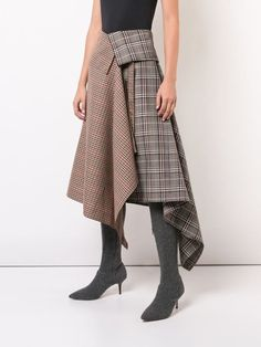 Shop online Monse patchwork plaid asymmetric skirt now with Same Day Delivery in London.Monse Saia Assimétrica Com Patchwork - FarfetchWomen S Fashion With Sneakers Tartan Fashion, Fashion Outfits, Womens Fashion, Fashion Trends, Steampunk Fashion, Gothic Fashion, Fashion Fashion, High Fashion, Fashion Jewelry