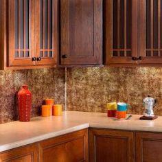 Fasade in. Bermuda Bronze Traditional Style # 10 PVC Decorative Backsplash Panel - The Home Depot Adhesive Tile Backsplash, Decorative Tile Backsplash, Wall Tile Adhesive, Backsplash Panels, Updated Kitchen, Kitchen Updates, Vinyl Panels, White Kitchen Sink, Tile Edge