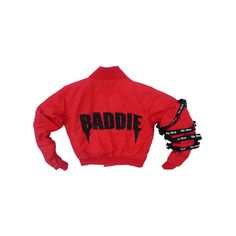 BADDIE BOMBER JACKET COLOR OPTIONS ) ($72) ❤ liked on Polyvore featuring outerwear, jackets, red flight jacket, flight jacket, blouson jacket, red jacket and bomber style jacket