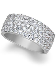 Arabella Sterling Silver Ring, Swarovski Zirconia Pave Band - Rings - Jewelry & Watches - Macy's