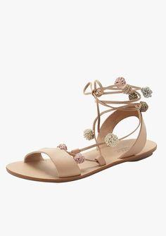 Loeffler Randall Saskia flat pom-pom gladiator sandals, $250.
