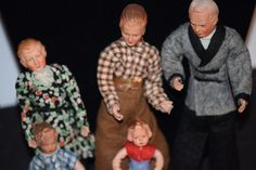 Vintage Doll Set Caco Grandpa & Kids Husband and wife