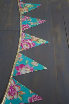 Tropical Peony Floral Pink, Teal & Gold Fabric Pennant Bunting Banner for Birthday Party or Room Decoration by MsRogersNeighborhood Etsy shop