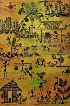 Image result for india rice farming painting mural for Examples of mural painting