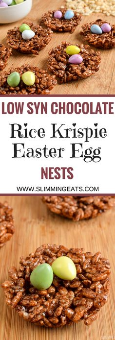 Slimming Eats Low Syn Chocolate Rice Krispie Easter Egg Nests - vegetarian, Slimming World and Weight Watchers friendly astuce recette minceur girl world world recipes world snacks Slimming World Taster Ideas, Slimming World Puddings, Slimming World Cake, Slimming World Treats, Slimming World Tips, Slimming World Dinners, Slimming World Recipes Syn Free, Slimming Eats, Slimming World Rice Pudding
