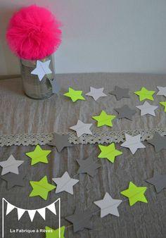 guirlande étoiles papier carton jaune fluo gris blanc - décoration chambre enfant bébé fluo jaune gris blanc
