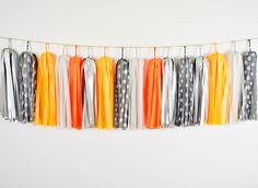 Pumpkin Tassel Garland, Grey Orange Garland, Halloween Garland, Halloween Tassel, Halloween Party, Orange Halloween, Orange Boys Room by GenWoo on Etsy https://www.etsy.com/listing/242468954/pumpkin-tassel-garland-grey-orange