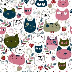 Pink and navy cats illustration Free Vector Gatos Vector, Textures Patterns, Print Patterns, Cat Art Print, Cat Pattern, Vector Pattern, Cat Wallpaper, Pattern Illustration, Cat Drawing