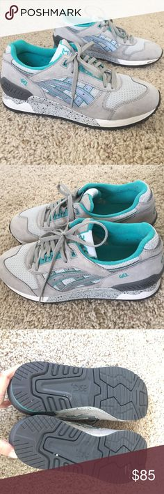 Flash sale Asics gel lyte  Womens sz7 gray tiger Beautiful gray suede asics sneakers- awesome gray and turquoise / teal color. Bought from Revolve a few months ago- but I just don't wear sneakers. Very lightly worn. Literally have worn maybe 4 times. Asics Shoes Sneakers