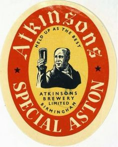 Labels Atkinson's Special Aston Atkinsons Brewery Ltd. Sell Your Stuff, West Midlands, Best Beer, Brewery, Beer Labels, Birmingham, England, Vintage, Ale