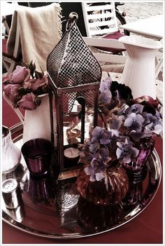 silver and purples table centerpiece