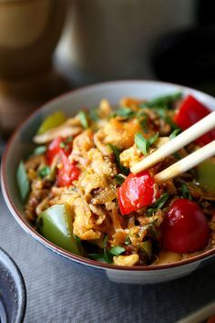 Szechuan Chicken Recipe - Colorful veggies and chile paste make this Szechuan chicken vibrant and deliciously spicy! And it only takes 25 minutes to make from start to finish! Recipe, dinner, sauce, dinner recipes, pepper, meal, Chinese, stir fry | pickledplum.com