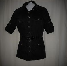 BEBE Women/Junior Size S Small Top/Blouse Button Up Belted Black  #bebe #ButtonDownShirt