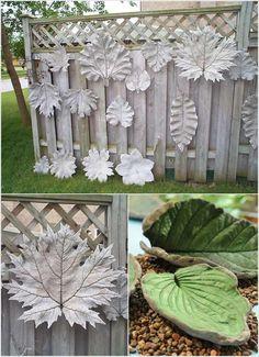 déco de jardin créative - décorez la clôture de jardin de feuilles en béton